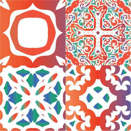 Ornamental talavera mexico tiles decor. Set of vector seamless patterns. Colored design. Red gorgeous flower folk prints for linens, smartphone cases, scrapbooking, bags or T-shirts. Ilustração
