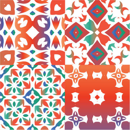Ornamental talavera mexico tiles decor. Original design. Collection of vector seamless patterns. Red gorgeous flower folk prints for linens, smartphone cases, scrapbooking, bags or T-shirts.