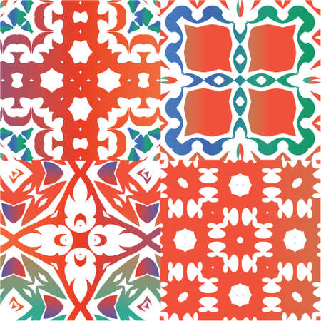 Antique mexican talavera ceramic. Fashionable design. Collection of vector seamless patterns. Red floral and abstract decor for scrapbooking, smartphone cases, T-shirts, bags or linens. Ilustração