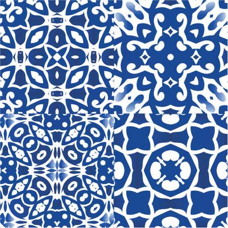 Portuguese ornamental azulejo ceramic. Kit of vector seamless patterns. Fashionable design. Blue vintage backdrops for wallpaper, web background, towels, print, surface texture, pillows. Illustration