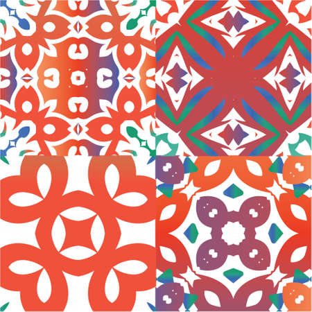 Ethnic ceramic tiles in mexican talavera. Set of vector seamless patterns. Fashionable design. Red vintage ornaments for surface texture, towels, pillows, wallpaper, print, web background.