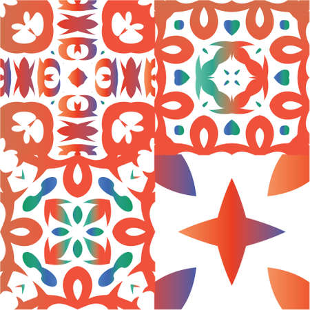 Mexican ornamental talavera ceramic. Graphic design. Kit of vector seamless patterns. Red vintage backdrops for wallpaper, web background, towels, print, surface texture, pillows. Ilustração
