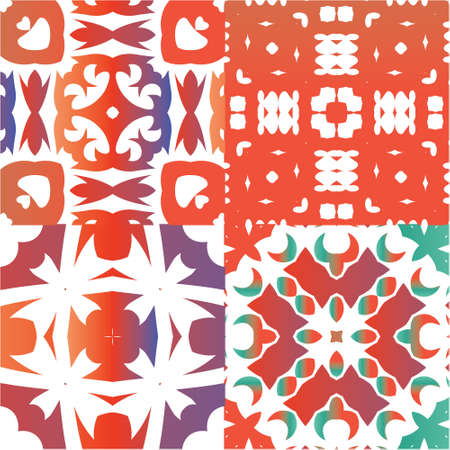 Antique ornate tiles talavera mexico. Kit of vector seamless patterns. Kitchen design. Red ethnic backgrounds for T-shirts, scrapbooking, linens, smartphone cases or bags. Ilustração