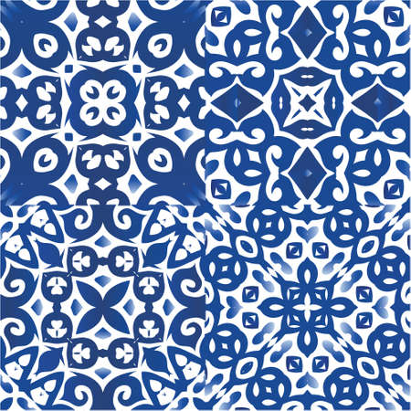 Ornamental azulejo portugal tiles decor. Geometric design. Collection of vector seamless patterns. Blue gorgeous flower folk prints for linens, smartphone cases, scrapbooking, bags or T-shirts.