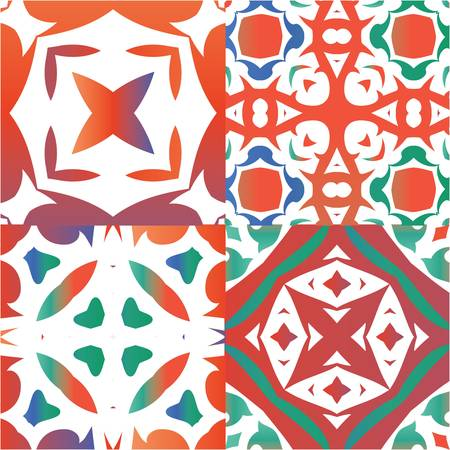 Ornamental talavera mexico tiles decor. Bathroom design. Kit of vector seamless patterns. Red gorgeous flower folk prints for linens, smartphone cases, scrapbooking, bags or T-shirts.