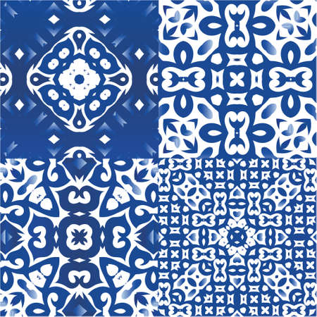 Ornamental azulejo portugal tiles decor. Modern design. Kit of vector seamless patterns. Blue gorgeous flower folk prints for linens, smartphone cases, scrapbooking, bags or T-shirts. Illustration