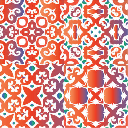 Ethnic ceramic tiles in mexican talavera. Geometric design. Collection of vector seamless patterns. Red vintage ornaments for surface texture, towels, pillows, wallpaper, print, web background.