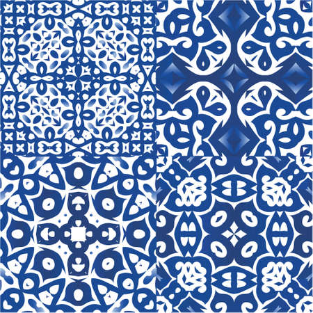 Ornamental azulejo portugal tiles decor. Collection of vector seamless patterns. Original design. Blue gorgeous flower folk prints for linens, smartphone cases, scrapbooking, bags or T-shirts.