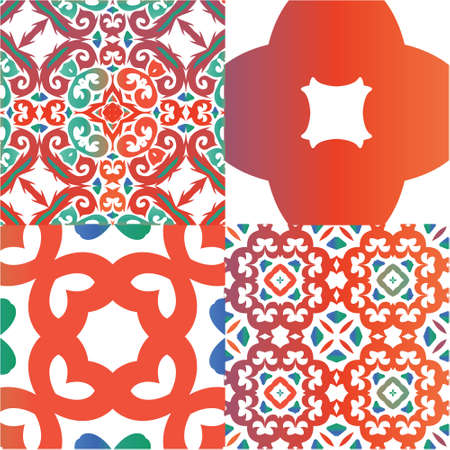Antique talavera tiles patchworks. Bathroom design. Kit of vector seamless patterns. Red mexican ornamental  decor for bags, smartphone cases, T-shirts, linens or scrapbooking.