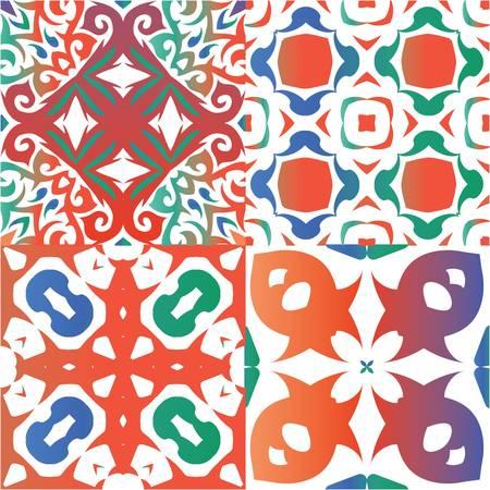 Antique talavera tiles patchworks. Creative design. Set of vector seamless patterns. Red mexican ornamental  decor for bags, smartphone cases, T-shirts, linens or scrapbooking. Ilustração