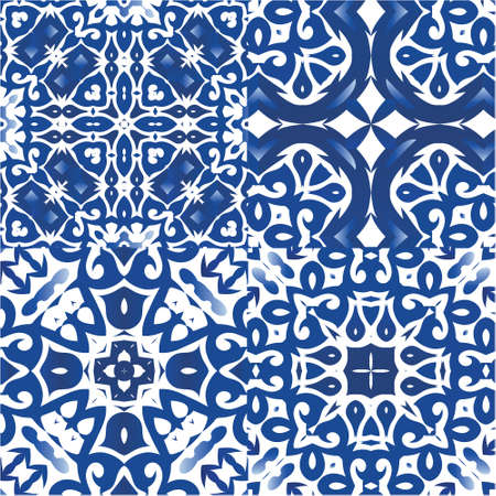 Portuguese ornamental azulejo ceramic. Original design. Collection of vector seamless patterns. Blue vintage backdrops for wallpaper, web background, towels, print, surface texture, pillows. Illustration