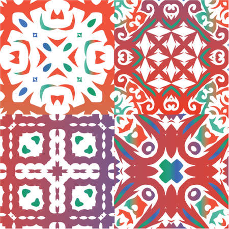 Traditional ornate mexican talavera. Kit of vector seamless patterns. Modern design. Red abstract backgrounds for web backdrop, print, pillows, surface texture, wallpaper, towels.