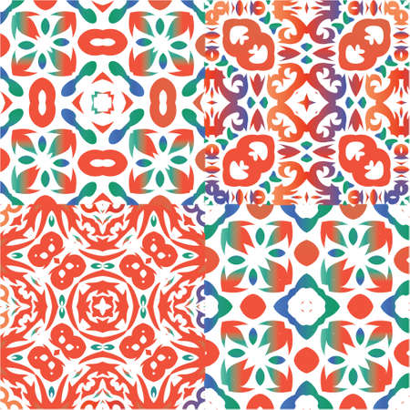 Antique ornate tiles talavera mexico. Set of vector seamless patterns. Graphic design. Red ethnic backgrounds for T-shirts, scrapbooking, linens, smartphone cases or bags.