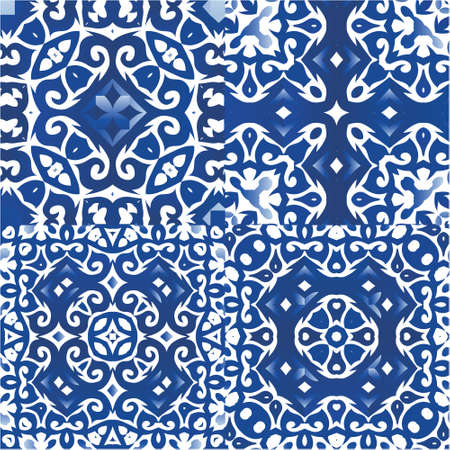 Portuguese ornamental azulejo ceramic. Kit of vector seamless patterns. Creative design. Blue vintage backdrops for wallpaper, web background, towels, print, surface texture, pillows.