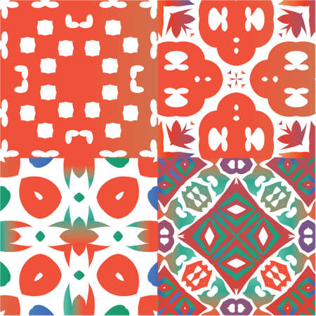 Traditional ornate mexican talavera. Kit of vector seamless patterns. Universal design. Red abstract backgrounds for web backdrop, print, pillows, surface texture, wallpaper, towels.