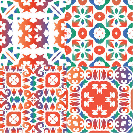 Ethnic ceramic tiles in mexican talavera. Creative design. Kit of vector seamless patterns. Red vintage ornaments for surface texture, towels, pillows, wallpaper, print, web background.