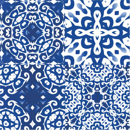 Antique azulejo tiles patchworks. Collection of vector seamless patterns. Original design. Blue spain and portuguese decor for bags, smartphone cases, T-shirts, linens or scrapbooking.