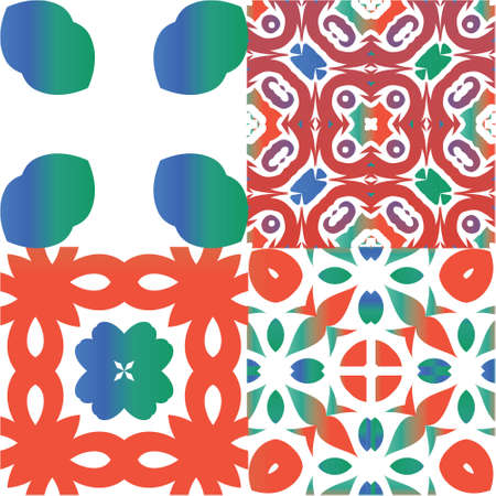 Ornamental talavera mexico tiles decor. Hand drawn design. Kit of vector seamless patterns. Red gorgeous flower folk prints for linens, smartphone cases, scrapbooking, bags or T-shirts. Ilustração
