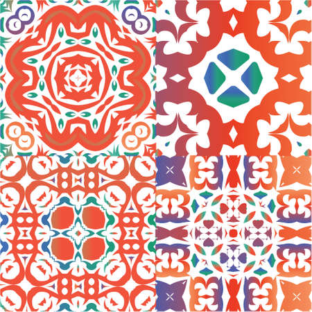 Ornamental talavera mexico tiles decor. Kitchen design. Collection of vector seamless patterns. Red gorgeous flower folk prints for linens, smartphone cases, scrapbooking, bags or T-shirts.