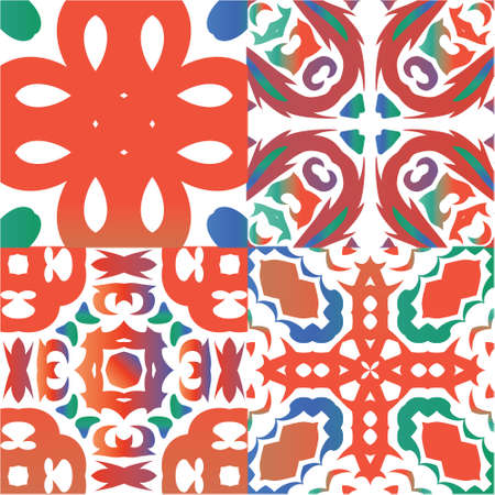 Traditional ornate mexican talavera. Kit of vector seamless patterns. Bathroom design. Red abstract backgrounds for web backdrop, print, pillows, surface texture, wallpaper, towels.