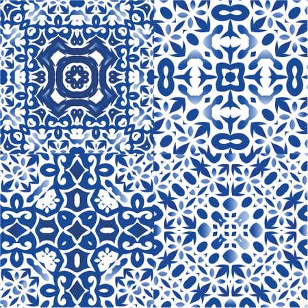 Portuguese ornamental azulejo ceramic. Kitchen design. Set of vector seamless patterns. Blue vintage backdrops for wallpaper, web background, towels, print, surface texture, pillows.