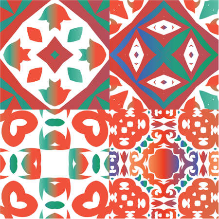 Ornamental talavera mexico tiles decor. Universal design. Kit of vector seamless patterns. Red gorgeous flower folk prints for linens, smartphone cases, scrapbooking, bags or T-shirts.