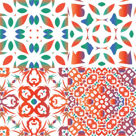 Ethnic ceramic tiles in mexican talavera. Collection of vector seamless patterns. Graphic design. Red vintage ornaments for surface texture, towels, pillows, wallpaper, print, web background.