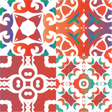 Mexican ornamental talavera ceramic. Geometric design. Collection of vector seamless patterns. Red vintage backdrops for wallpaper, web background, towels, print, surface texture, pillows.