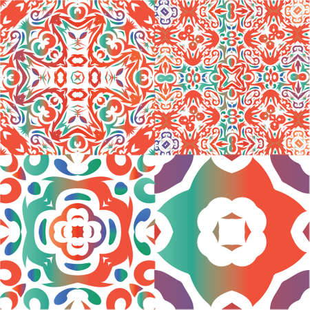 Antique talavera tiles patchworks. Collection of vector seamless patterns. Stylish design. Red mexican ornamental  decor for bags, smartphone cases, T-shirts, linens or scrapbooking. Ilustração