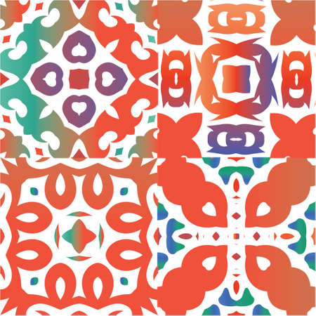 Antique talavera tiles patchworks. Kit of vector seamless patterns. Colored design. Red mexican ornamental  decor for bags, smartphone cases, T-shirts, linens or scrapbooking. Ilustração