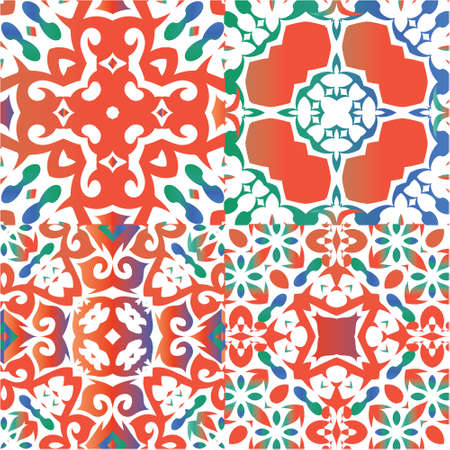 Ornamental talavera mexico tiles decor. Modern design. Kit of vector seamless patterns. Red gorgeous flower folk prints for linens, smartphone cases, scrapbooking, bags or T-shirts.