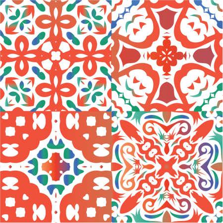 Ornamental talavera mexico tiles decor. Minimal design. Kit of vector seamless patterns. Red gorgeous flower folk prints for linens, smartphone cases, scrapbooking, bags or T-shirts. Ilustração