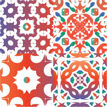 Mexican ornamental talavera ceramic. Universal design. Collection of vector seamless patterns. Red vintage backdrops for wallpaper, web background, towels, print, surface texture, pillows.