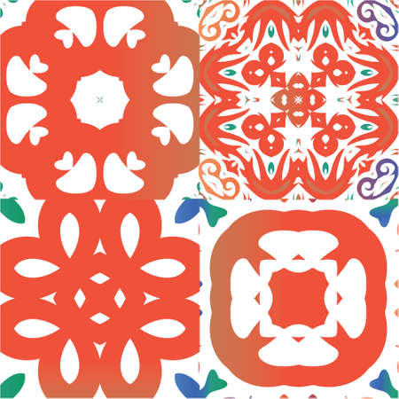 Mexican ornamental talavera ceramic. Kit of vector seamless patterns. Bathroom design. Red vintage backdrops for wallpaper, web background, towels, print, surface texture, pillows.