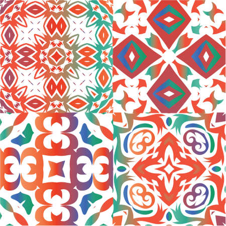 Mexican vintage talavera tiles. Minimal design. Collection of vector seamless patterns. Red antique backgrounds for pillows, print, wallpaper, web backdrop, towels, surface texture. Ilustração