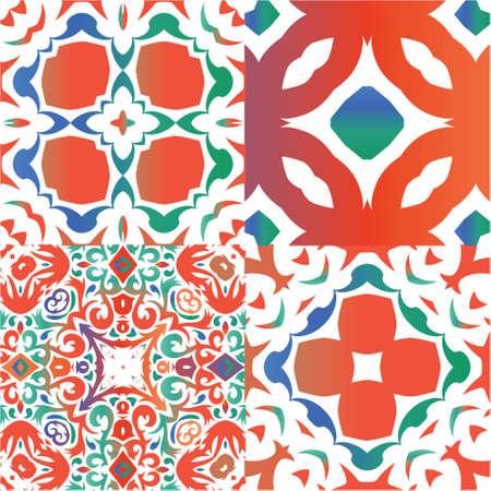 Antique talavera tiles patchworks. Bathroom design. Set of vector seamless patterns. Red mexican ornamental  decor for bags, smartphone cases, T-shirts, linens or scrapbooking. Ilustração