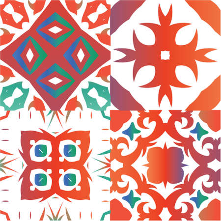 Mexican ornamental talavera ceramic. Collection of vector seamless patterns. Stylish design. Red vintage backdrops for wallpaper, web background, towels, print, surface texture, pillows. Ilustração