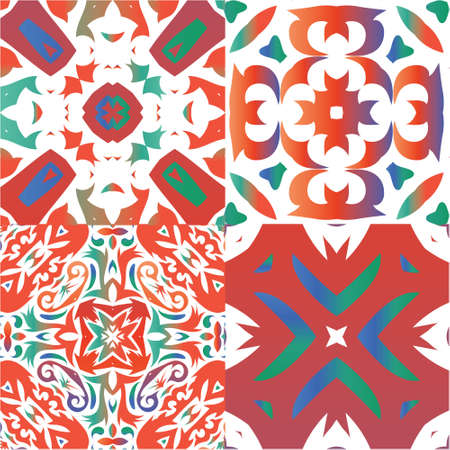 Antique mexican talavera ceramic. Set of vector seamless patterns. Creative design. Red floral and abstract decor for scrapbooking, smartphone cases, T-shirts, bags or linens.