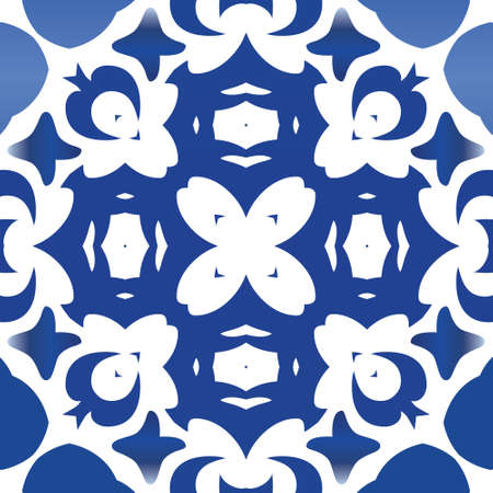 Ornamental azulejo portugal tiles decor. Vector seamless pattern flyer. Kitchen design. Blue gorgeous flower folk print for linens, smartphone cases, scrapbooking, bags or T-shirts.