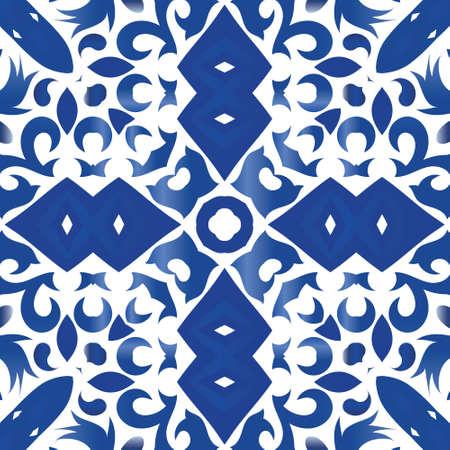 Portuguese ornamental azulejo ceramic. Vector seamless pattern theme. Original design. Blue vintage backdrop for wallpaper, web background, towels, print, surface texture, pillows. Illustration