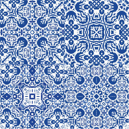 Antique portuguese azulejo ceramic. Fashionable design. Collection of vector seamless patterns. Blue floral and abstract decor for scrapbooking, smartphone cases, T-shirts, bags or linens.
