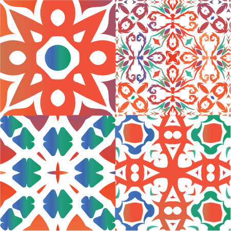 Mexican vintage talavera tiles. Kitchen design. Set of vector seamless patterns. Red antique backgrounds for pillows, print, wallpaper, web backdrop, towels, surface texture.