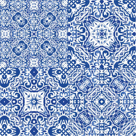 Antique portuguese azulejo ceramic. Graphic design. Set of vector seamless patterns. Blue floral and abstract decor for scrapbooking, smartphone cases, T-shirts, bags or linens.