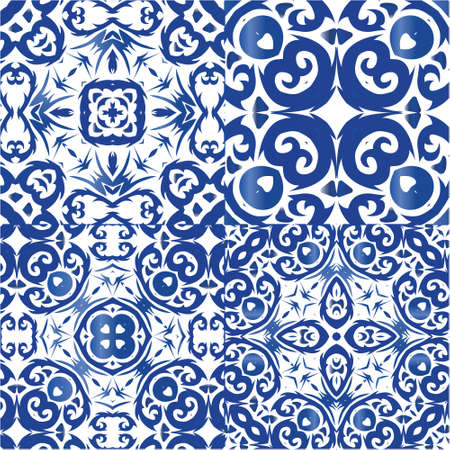 Portuguese vintage azulejo tiles. Original design. Collection of vector seamless patterns. Blue antique backgrounds for pillows, print, wallpaper, web backdrop, towels, surface texture.