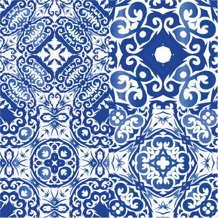 Traditional ornate portuguese azulejos. Kit of vector seamless patterns. Colored design. Blue abstract backgrounds for web backdrop, print, pillows, surface texture, wallpaper, towels.