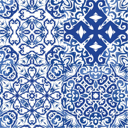 Traditional ornate portuguese azulejos. Set of vector patterns. Hand drawn design. Blue abstract backgrounds for web backdrop, print, pillows, surface texture, wallpaper, towels. Illustration
