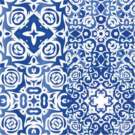 Ceramic tiles azulejo portugal. Kit of vector patterns. Kitchen design. Blue ethnic backgrounds for T-shirts, scrapbooking, linens, smartphone cases or bags.