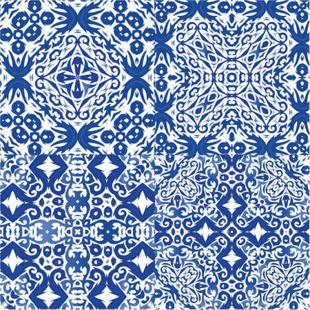 Portuguese vintage azulejo tiles. Collection of vector patterns. Modern design. Blue antique backgrounds for pillows, print, wallpaper, web backdrop, towels, surface texture.