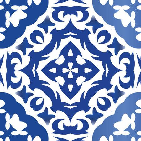 Portuguese vintage azulejo tiles. Original design. Vector pattern texture. Blue antique background for pillows, print, wallpaper, web backdrop, towels, surface texture.