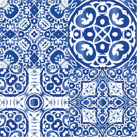 Portuguese ornamental azulejo ceramic. Kit of vector patterns. Geometric design. Blue vintage backdrops for wallpaper, web background, towels, print, surface texture, pillows.